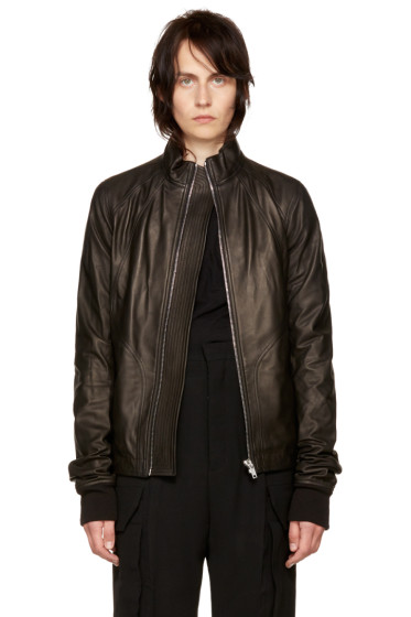 Rick Owens - Black Leather Intarsia Jacket