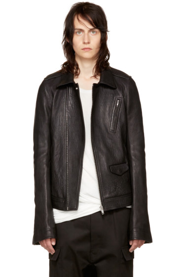 Rick Owens - Black Leather Stooges Bomber Jacket