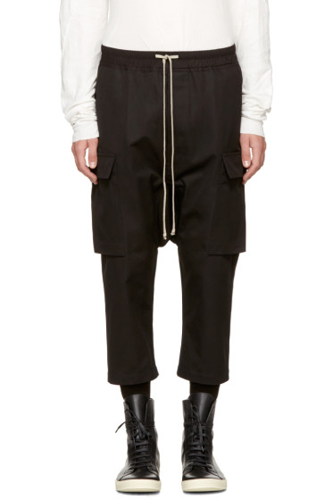 Rick Owens - Black Drawstring Cropped Cargo Pants