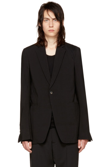 Rick Owens - Black Shoulder Drape Soft Blazer