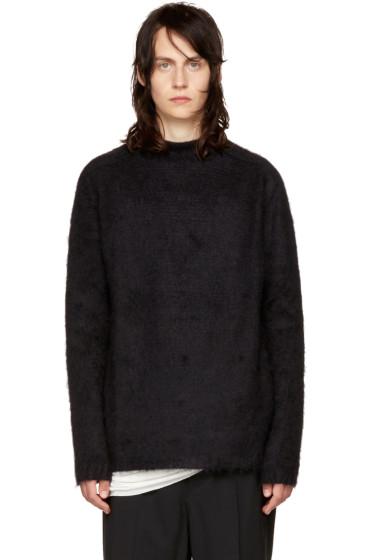 Rick Owens - Black Oversized Jacquard Mohair Sweater