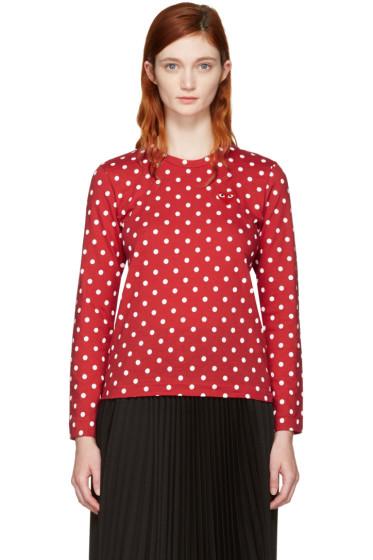 Comme des Garçons Play - Red Long Sleeve Polka Dot Heart Patch T-Shirt