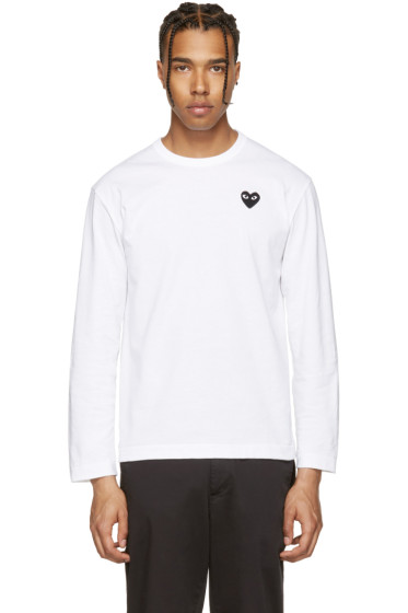 Comme des Garçons Play - White Long Sleeve Heart Patch T-Shirt