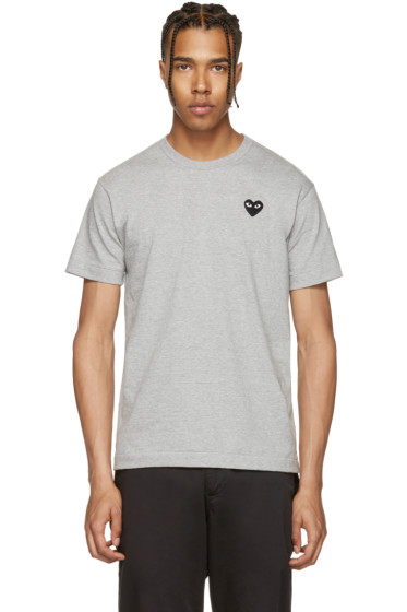 Comme des Garçons Play - Grey & Black Heart Patch T-Shirt