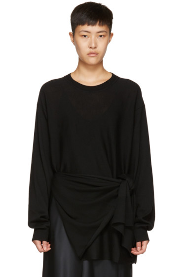 Jil Sander - Black Merino Tie Pullover