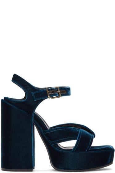 Jil Sander - Blue Velvet Helter Sandals