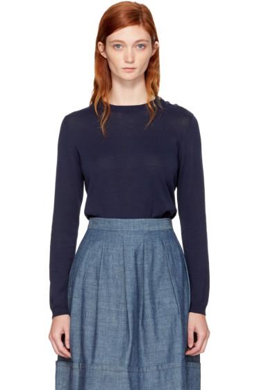 A.P.C. - Navy Aura Crewneck Sweater