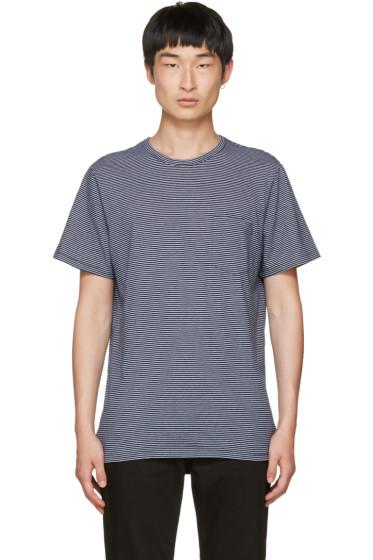 A.P.C. - Navy Striped Pocket T-Shirt