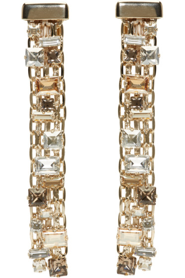 Lanvin - Gold & Crystal Skinny Clip-On Earrings