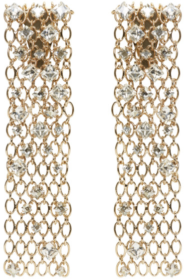 Lanvin - Gold & Crystal Chain Clip-On Earrings