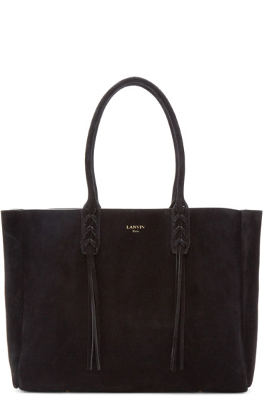 Lanvin - Black Suede Small Shopper Tote