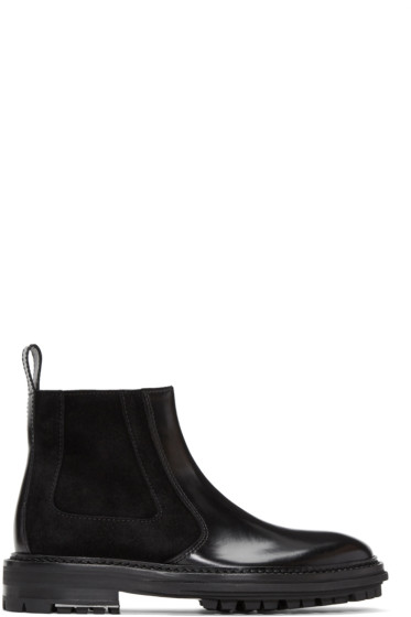 Lanvin - Black Leather & Suede Chelsea Boots