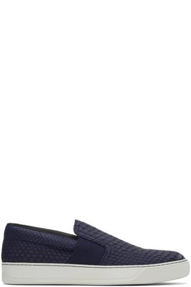 Lanvin - Navy Python Slip-On Sneakers