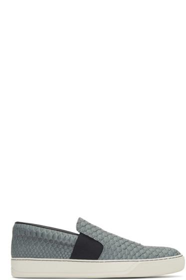 Lanvin - Grey Python Slip-On Sneakers