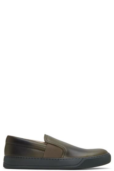 Lanvin - Green Leather Slip-On Sneakers