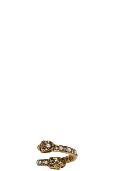 Alexander McQueen - Gold Crystal & Pearl Twin Skull Ring
