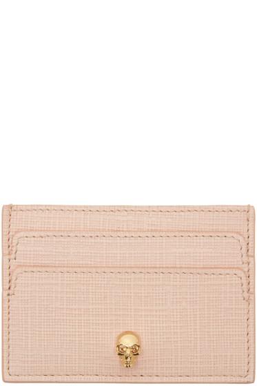 Alexander McQueen - Pink & Gold Lino Skull Card Holder