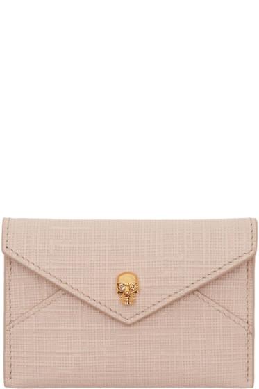 Alexander McQueen - Pink & Gold Skull Envelope Card Holder