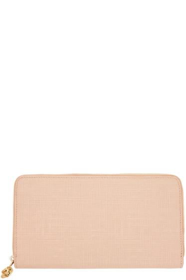 Alexander McQueen - Pink Lino Skull Continental Zip Around Wallet