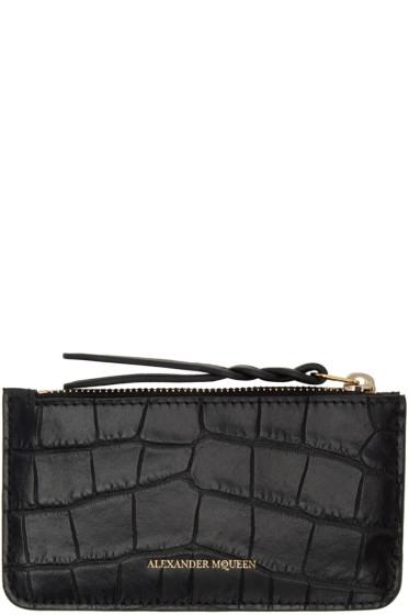 Alexander McQueen - Black Croc Zip Coin Pouch