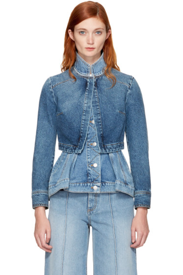 Alexander McQueen - Blue Denim Peplum Jacket