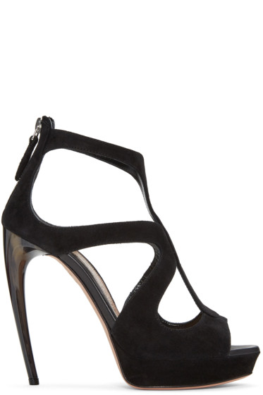 Alexander McQueen - Black Horn Heel Sandals