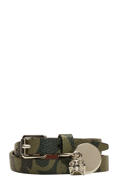 Alexander McQueen - Green Camo Skull Charm Double Wrap Bracelet