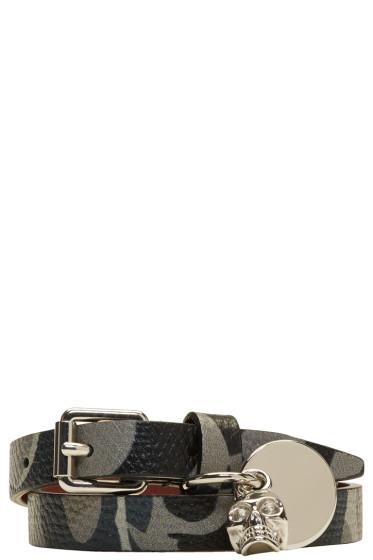 Alexander McQueen - Grey Camo Skull Charm Double Wrap Bracelet