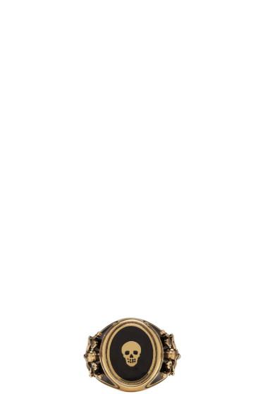 Alexander McQueen - Gold Enamel Signet Ring