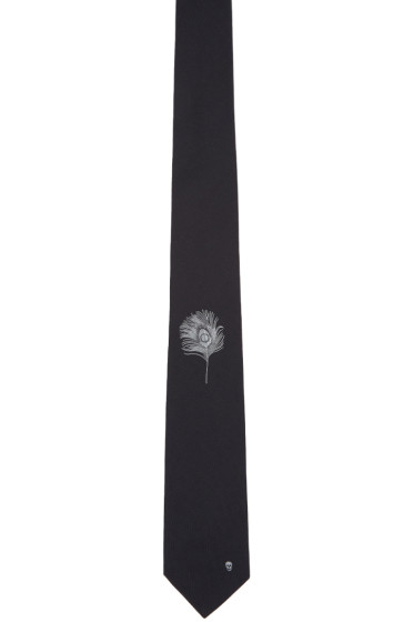 Alexander McQueen - Black Peacock Feather Tie