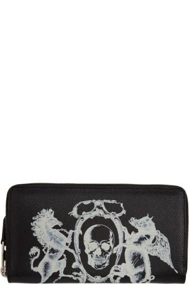 Alexander McQueen - Black 'Coat of Arms' Continental Zip Around Wallet