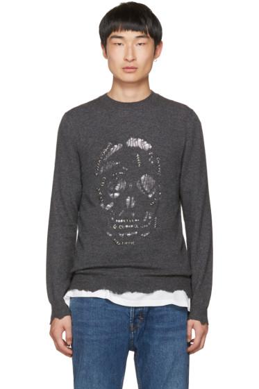 Alexander McQueen - Grey Distressed Pierced Skull Pullover