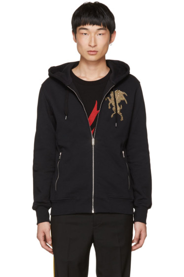 Alexander McQueen - Black Embroidered Lion Zip Hoodie