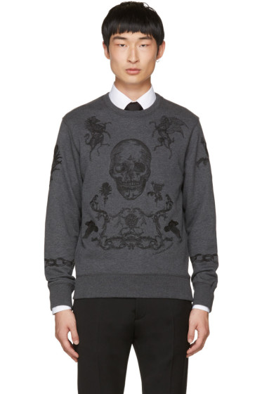 Alexander McQueen - Grey Embroidered Skull Sweatshirt