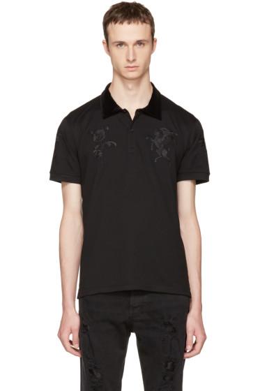 Alexander McQueen - Black Embroidered Polo