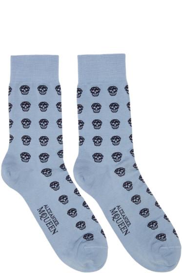 Alexander McQueen - Blue Short Skull Socks