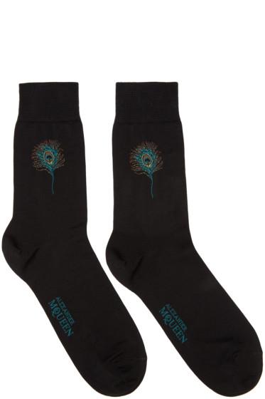 Alexander McQueen - Black Short Peacock Feather Socks