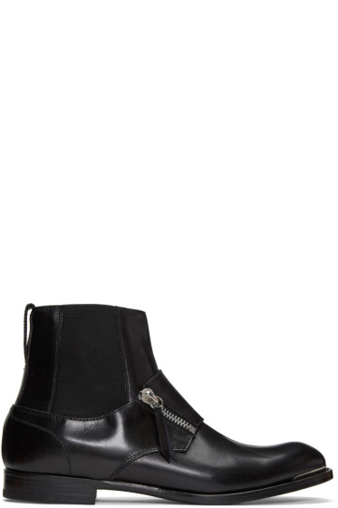 Alexander McQueen - Black Leather Chelsea Boots