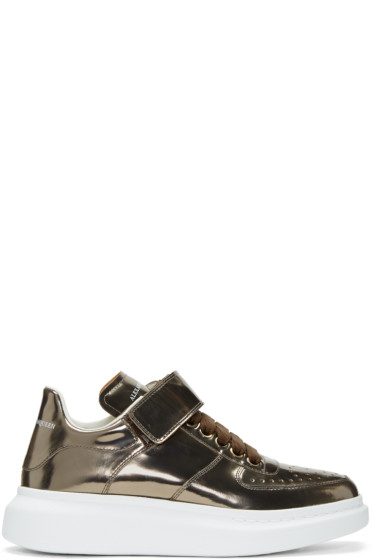 Alexander McQueen - Bronze Oversized Strap High-Top Sneakers