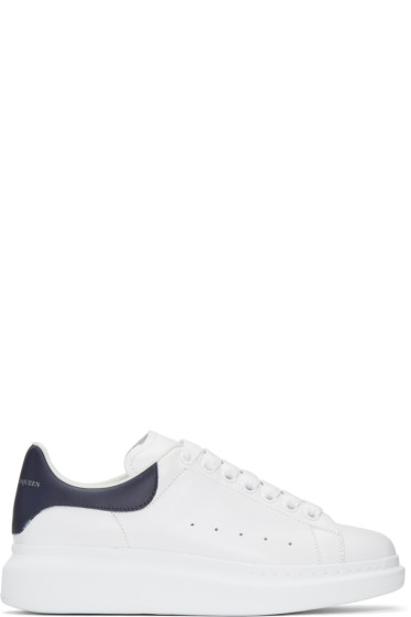 Alexander McQueen - White & Navy Oversized Sneakers