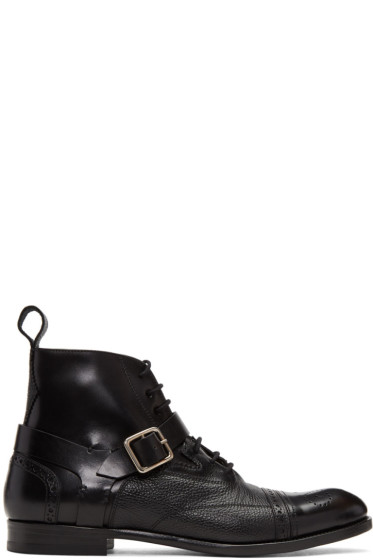 Alexander McQueen - Black Buckle Brogue Boots