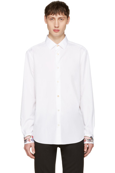 Paul Smith - White Embroidered Cuff Shirt