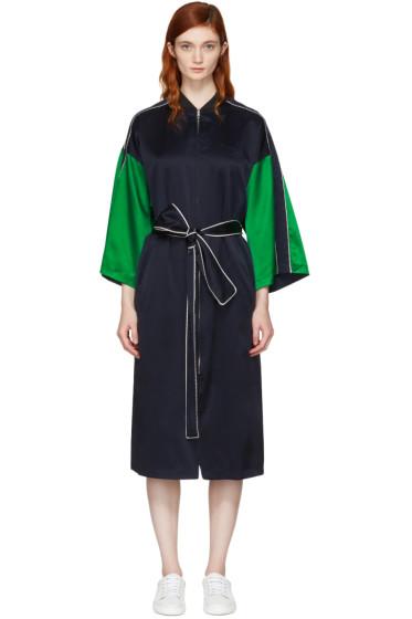 Opening Ceremony - Reversible Navy Silk Kimono Robe Coat