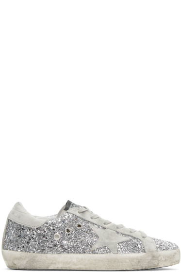 Golden Goose - SSENSE Exclusive Silver Glitter Superstar Sneakers