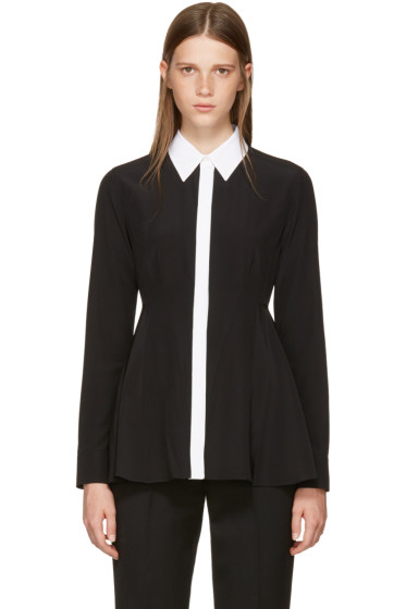 Givenchy - Black Silk Contrast Collar Blouse