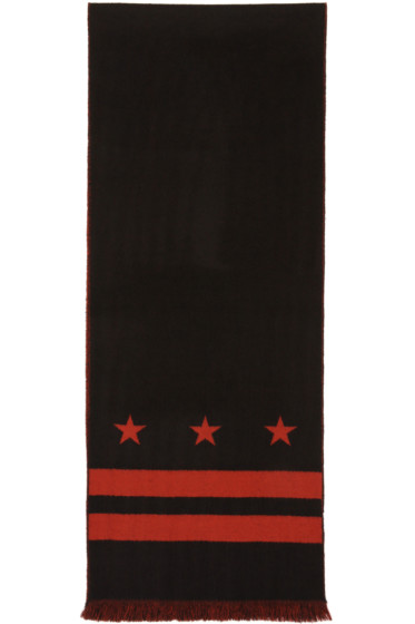 Givenchy - Black & Red Stars & Double Stripes Scarf