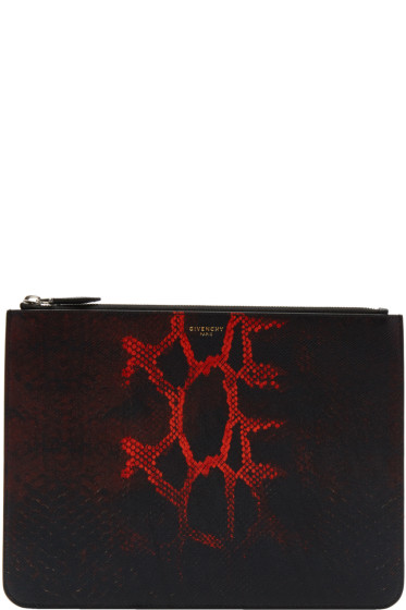 Givenchy - Black & Red Python Dégradé Zip Pouch