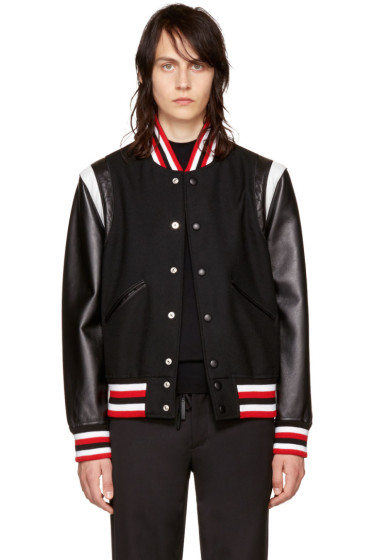 Givenchy - Black Wool & Leather Bomber Jacket