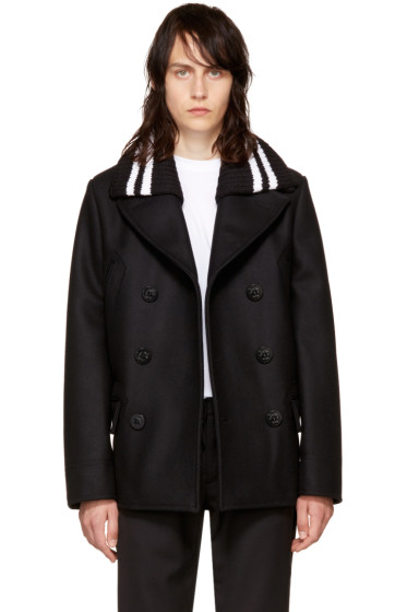 Givenchy - Black Knit Collar Peacoat