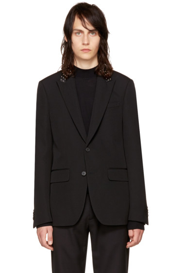 Givenchy - Black Studded Lapel Blazer